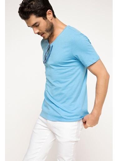 DeFacto Basic V Yaka T-shirt Mavi